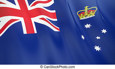 The flag of Victoria. Waving silk flag of Victoria. High quality render. 3D illustration