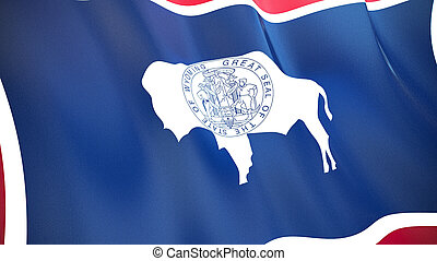 The flag of Wyoming. Waving silk flag of Wyoming. High quality render. 3D illustration