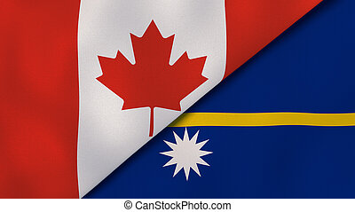 The flags of Canada and Nauru. News, reportage, business background. 3d illustration