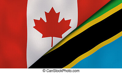 Two states flags of Canada and Tanzania. High quality business background. 3d illustration