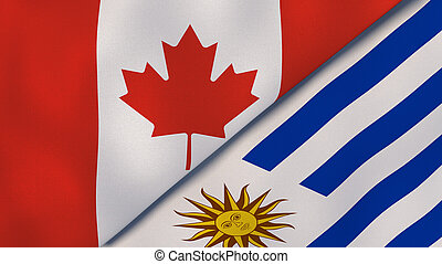 The flags of Canada and Uruguay. News, reportage, business background. 3d illustration