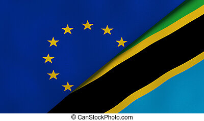 Two states flags of European Union and Tanzania. High quality business background. 3d illustration