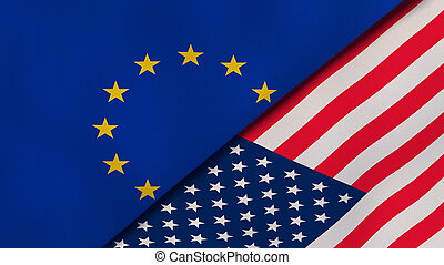 The flags of European Union and United States. News, ...