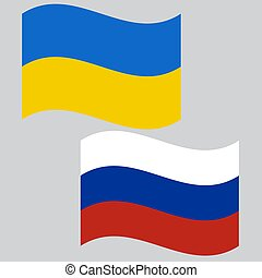 The flags of Russia and Ukraine