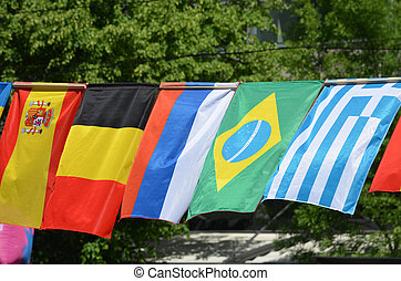 The flags of Spain, Belgium, Russia, Brazil and Greece