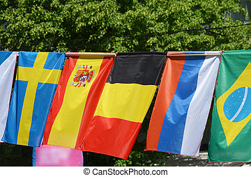 The flags of Sweden, Spain, Belgium, Russia and Brazil