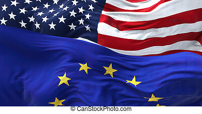 The flags of the European Union and the United States of America waving in the wind