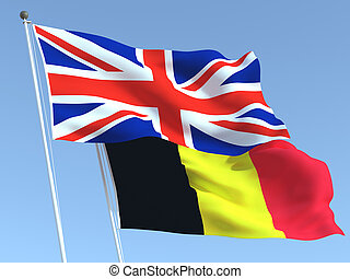 Two waving state flags of United Kingdom and Belgium on the blue sky. High - quality business background. 3d illustration