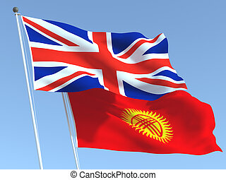 The flags of United Kingdom and Kyrgyzstan on the blue sky. For news, reportage, business. 3d illustration