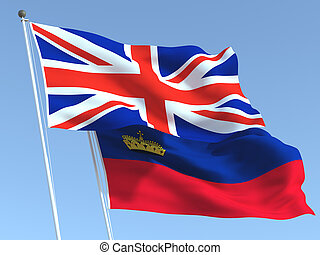 The flags of United Kingdom and Liechtenstein on the blue ...