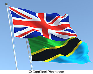 The flags of United Kingdom and Tanzania on the blue sky. For news, reportage, business. 3d illustration