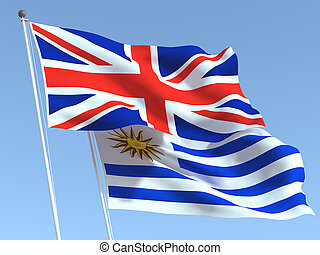 The flags of United Kingdom and Uruguay on the blue sky. For news, reportage, business. 3d illustration
