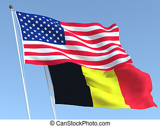Two waving state flags of United States and Belgium on the blue sky. High - quality business background. 3d illustration