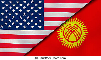 The flags of United States and Kyrgyzstan. News, reportage, business background. 3d illustration