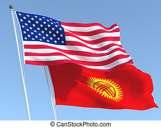 The flags of United States and Kyrgyzstan on the blue sky. For news, reportage, business. 3d illustration