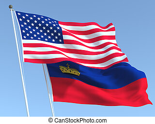The flags of United States and Liechtenstein on the blue sky...