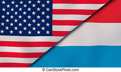 Two states flags of United States and Luxembourg. High quality business background. 3d illustration