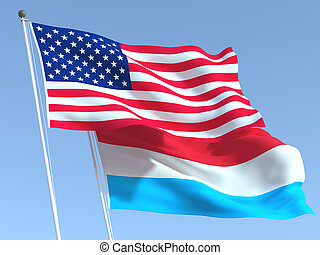 Two waving state flags of United States and Luxembourg on the blue sky. High - quality business background. 3d illustration