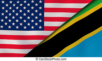 Two states flags of United States and Tanzania. High quality business background. 3d illustration