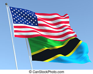 Two waving state flags of United States and Tanzania on the blue sky. High - quality business background. 3d illustration