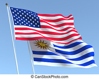 The flags of United States and Uruguay on the blue sky. For news, reportage, business. 3d illustration