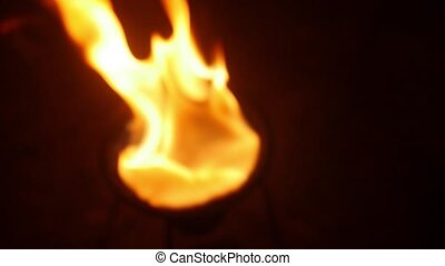 the flame develops more often, standing on the night road -...