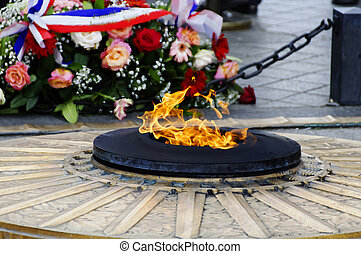 The flame of the unknown soldier under the Arc de Triomphe in Paris, France