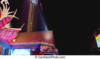 Drive-by low and of the Flamingo hotel and casino from Las Vegas Strip