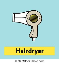 The flat icon of hairdryer silhouette on the blue background