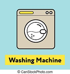 The flat icon of washing machine silhouette on the blue background