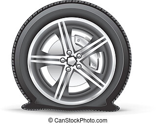 The flat tire on the white background