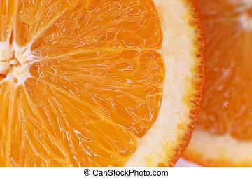 The flesh is juicy orange closeup