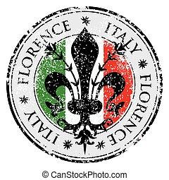 The fleur de lis of Florence, travel destination grunge...