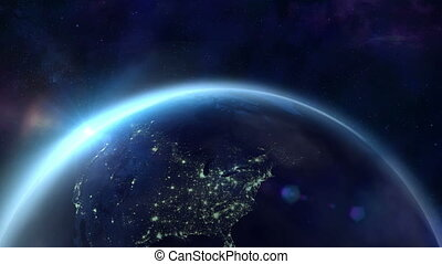 The flight of the camera over the night Earth