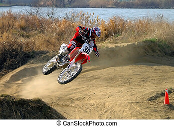 The flight - A very dynamic scene from a motocross...