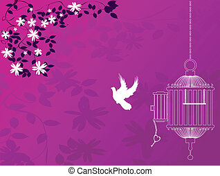 Bird flying away form cage, vintage background