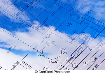 The floor plan of a house blueprint in the sky.