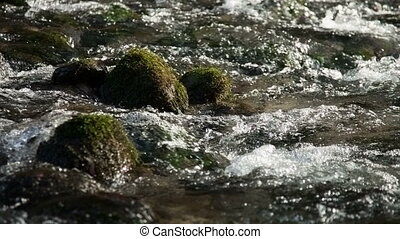 The flow of water through the rocks