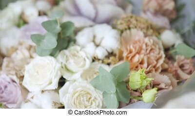 the flowers in the refrigerator for flower shop. Wedding and...