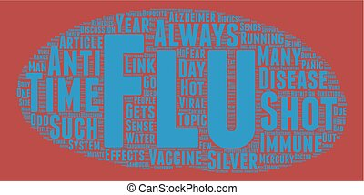 The Flu Shot or Not text background wordcloud concept
