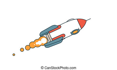 The flying rocket rotates around its axis. Color looped...