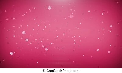 The flying snowflakes on red background