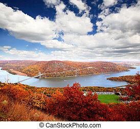 The foliage scenery at Hudson River region