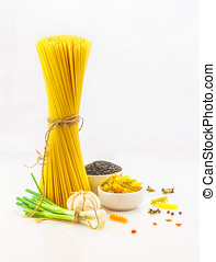 The food ingredients on white background.