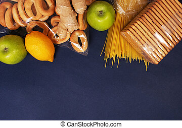 food on a blue background, top view