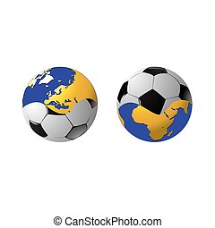 The football connected in a single whole and planet on a...