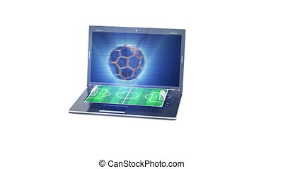 The football field appears from the laptop screen, the...