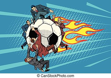 the football is flying like a meteor. competition of politicians