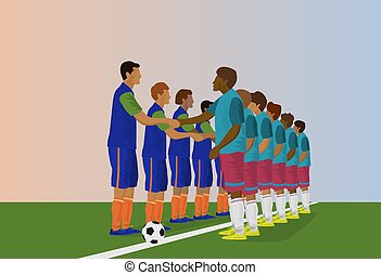 The football team is holding hands. In order to start a football match, blue background
