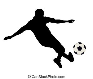 Silhouette of the footballer on a white background